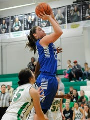Southeastern's Ella Skeens shoots against Huntington