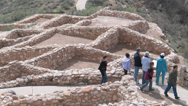 At Tuzigoot National Monument, visitors can stroll around the ruins of a pueblo village built by the ancient Sinagua native people around 1100. Many of the ruins have been rebuilt using original stones from the site.