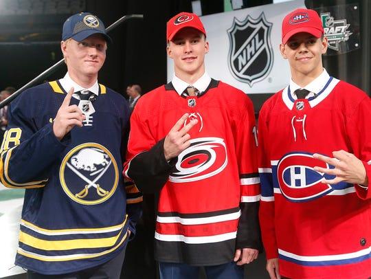 The NHL top three draft picks from left, Rasmus Dahlin