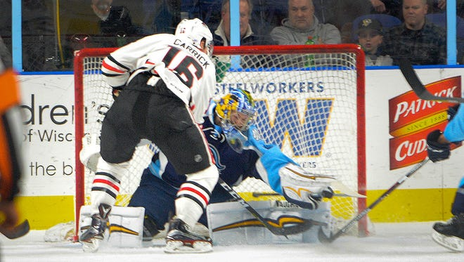 Milwaukee Admirals goaltender Marek Mazanec (shown in an earlier game) recorded his first shutout on Tuesday night.