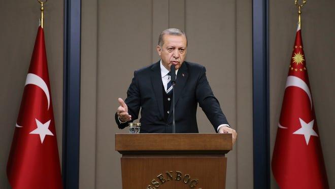 Turkish President Recep Tayyip Erdogan in Ankara on March 12, 2017.