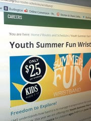 A screen shot taken of Green Mountain Transit's website shows a promotion of a $25 youth pass for the summer.