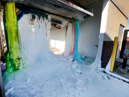 Frozen smyrna car wash creates colorful display the car wash at twice daily at 500 sam ridley parkway solutioingenieria Choice Image