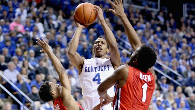 Charles Matthews of the Wildcats shoots the ball against the Bulldogs at Rupp Arena in Lexington, Kentucky.
