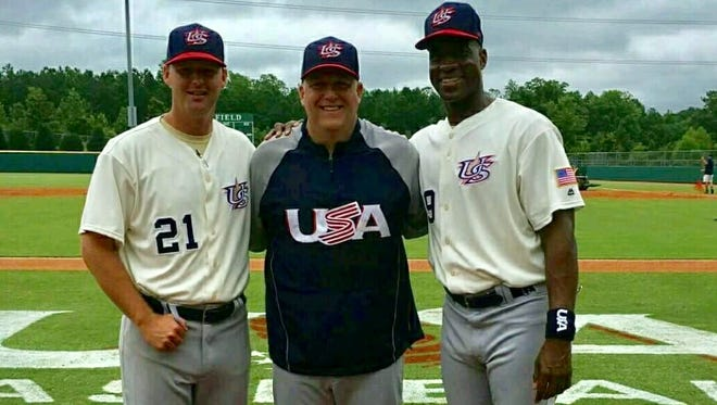 Woodmont athletic director Chris Carter, center, served as an assistant coach in the USA Baseball 18U  Tournament of Stars in Cary, North Carolina, alongside manager Fred McGriff, right, and pitching coach Robert Woodard.
