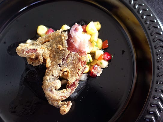 Masa-fried octopus with black bean puree and corn relish from Wright's at The Biltmore at the 2017 azcentral.com Food & Wine Experience.