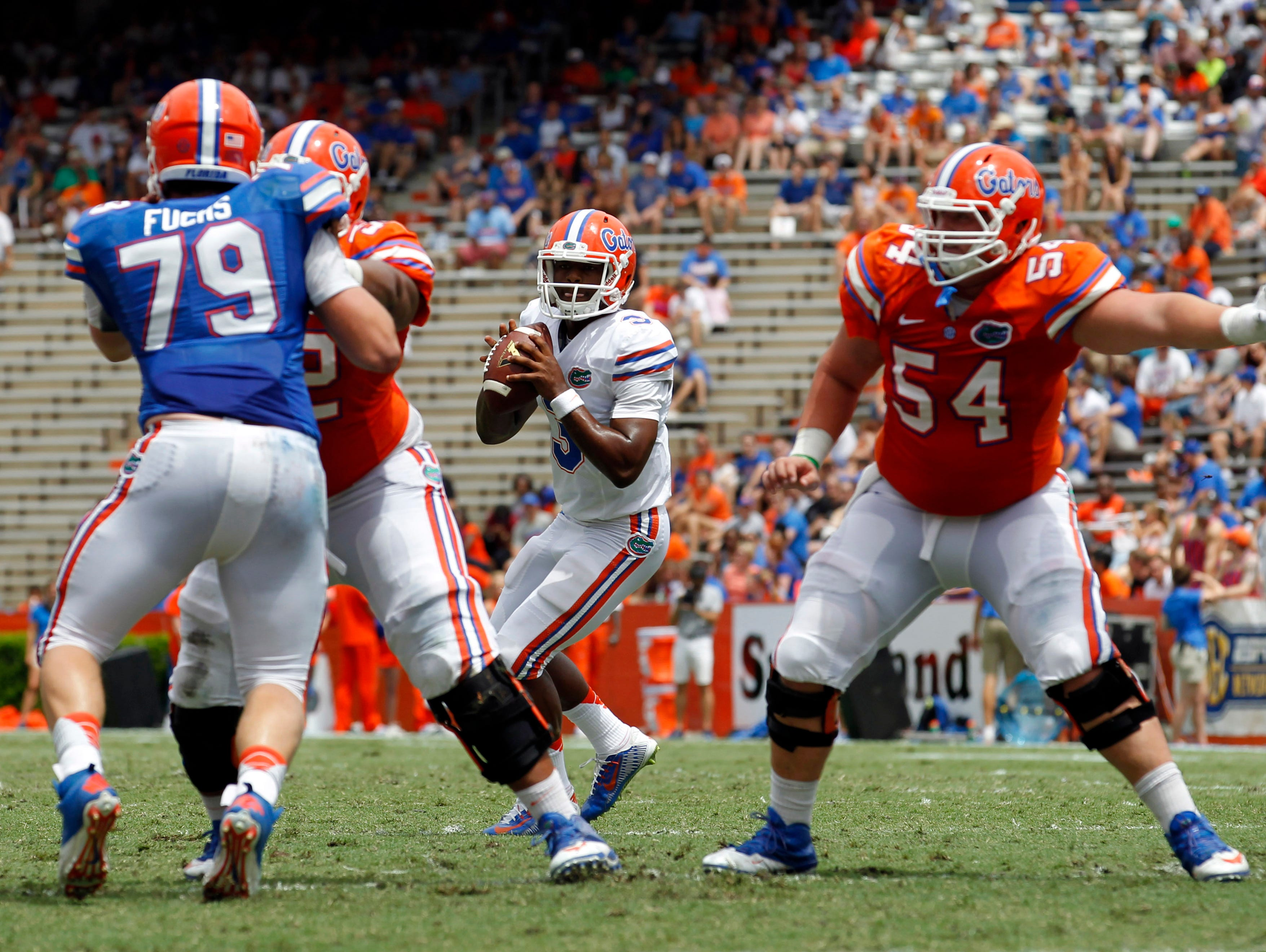 Florida Gators quarterback Treon Harris (3) is in the running to be the team's starter this fall.