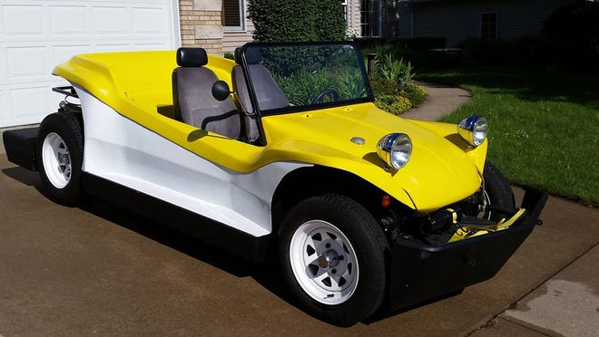 """The """"AquaBuggy"""" is a one off creation built over several years and is 100% road worthy and can go 6 mph on the water. The creator is hoping to get more horsepower to the boat motor attachment."""