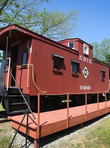 Exterior photo of Erie Center Cupola Caboose, photographed in Mahwah on May 17th, 2017.