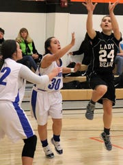 Cloudcroft's Marisol Paulik attempts a shot in the paint.