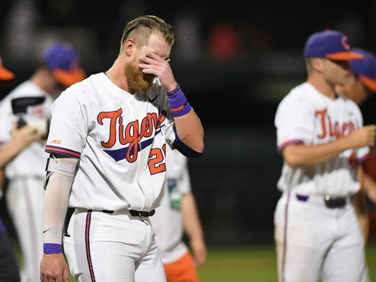 Clemson first baseman Seth Beer (28) reacts after the Tigers 19-6 loss to Vanderbilt in the Tiger's NCAA Clemson Regional at Doug Kingsmore Stadium in Clemson Sunday, June 3, 2018.