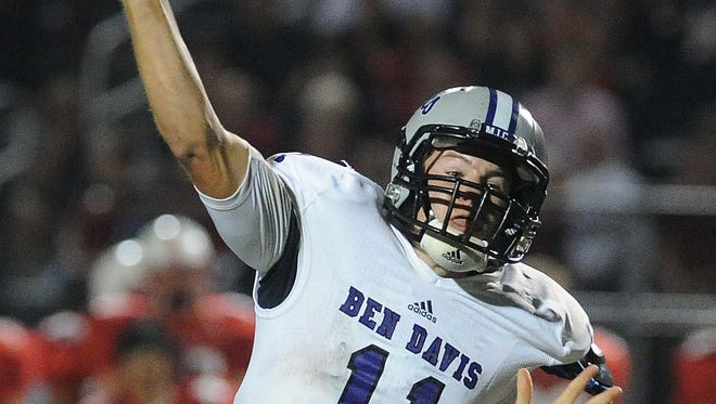 Kyle Castner of BD fires a pass on a fourth quarter drive. Center Grove hosted Ben Davis in high school football Friday October 4, 2013. Rob Goebel/The Star.