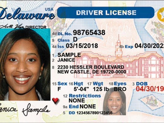 This is what the front of the Delaware driver license looks like. Enhance security features were added in June 2018.
