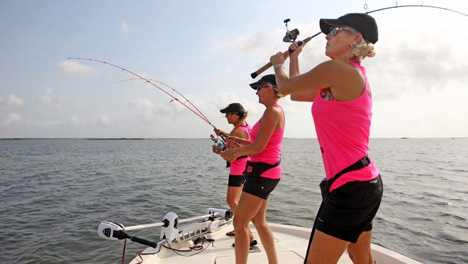 Jana Joy Jones slings another lure from the bow their Epic skiff.
