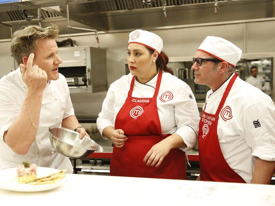 """Gordon Ramsay with contestants Claudia and Stephen Lee in the most recent episode of """"MasterChef"""" Aug. 26."""