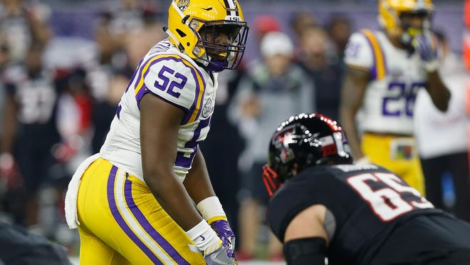 LSU linebacker Kendell Beckwith lines up against Texas Tech last month during the second half of the Texas Bowl in Houston. LSU earned a 56-27 victory.
