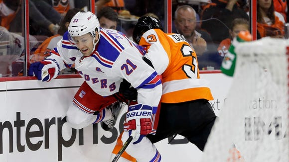 Rangers center Derek Stepan is hit by Philadelphia Flyers defenseman Radko Gudas  during the first period of a preseason NHL hockey game, Monday, Oct. 3, 2016, in Philadelphia.
