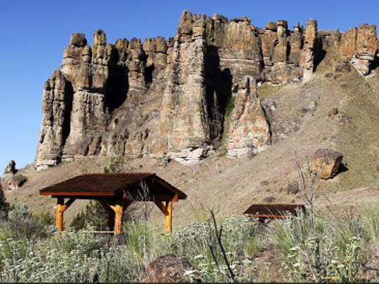 Cliffs of the Palisades at the Clarno unit of the John Day Fossil Beds National Monument.