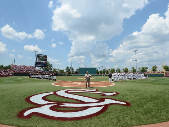 South Carolina plays Oklahoma State during an NCAA