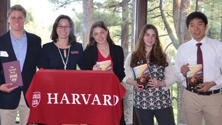 Prize Book winners Grace Hong, Shreeya Joshee, Stephen Osborne, II, Harvard Club president Jacqueline Leppla, and new Harvard admits Rebecca Bauer, Hadley Weiss, and Christopher Huh.  Not pictured:  new admit Pieter Weemas.