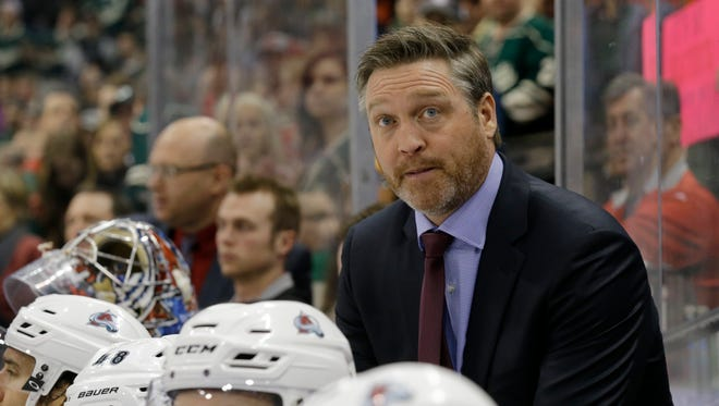 Colorado Avalanche coach Patrick Roy watches from the bench Feb. 7, 2015.