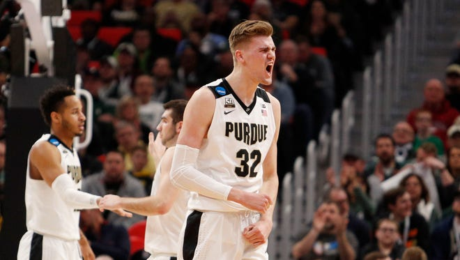 Mar 16, 2018; Detroit, MI, USA;  Purdue Boilermakers forward Matt Haarms (32) reacts to a play in the first half against the Cal State Fullerton Titans in the first round of the 2018 NCAA Tournament at Little Caesars Arena. Mandatory Credit: Raj Mehta-USA TODAY Sports