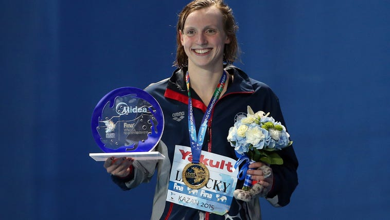 Katie Ledecky is all smiles after winning a gold medal