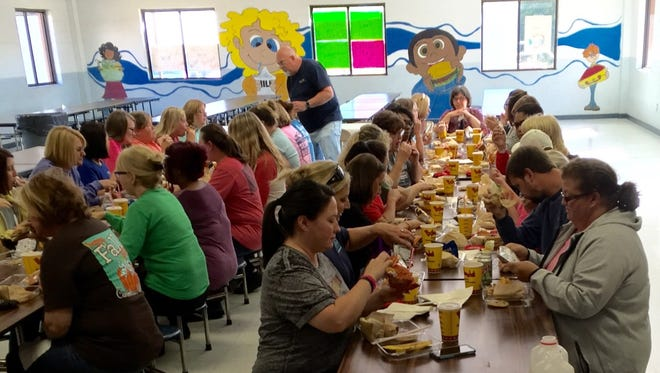Lavonia Elementary School faculty and staff enjoy their lunch sponsored by the Lavonia Chamber of Commerce and other members of the community.