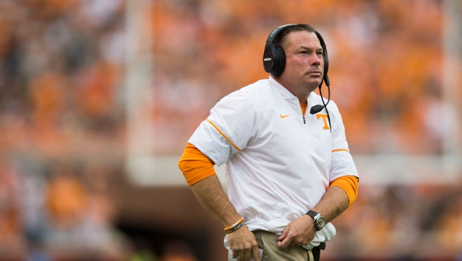 Vols coach Butch Jones watches the game against Indiana State on Saturday, Sept. 9, 2017.
