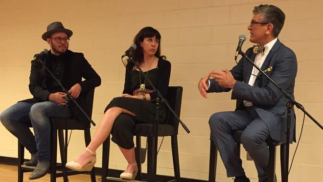 Composer Missy Mazzoli, center, with librettist Royce Vavrek, left, and Cincinnati Opera artistic director Evans Mirageas, right