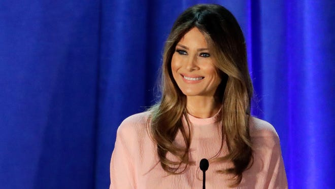 Melania Trump, wife of Republican presidential candidate Donald Trump, speaks at the Main Line Sports Center in Berwyn, Pa., Thursday, Nov. 3, 2016.