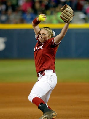 Alabama's Sydney Littlejohn throws a pitch against LSU during a Women's College World Series game in Oklahoma City on Saturday.