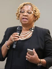 Wilmington City Council President Hanifa Shabazz takes part in the listening tour conducted by city officials Thursday before evading questions about a $40,000 grant.