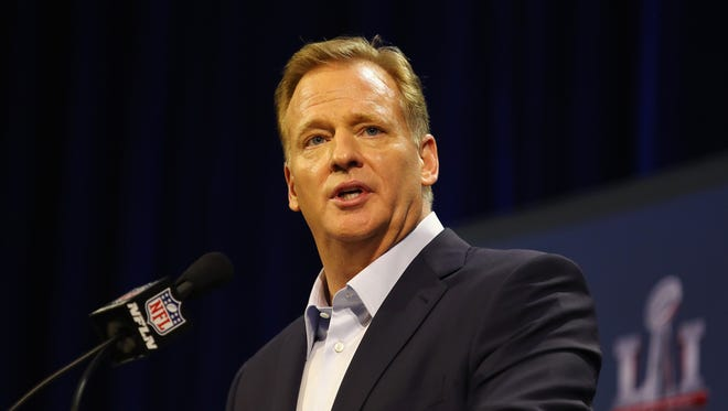 NFL Commissioner Roger Goodell speaks with the media during a press conference for Super Bowl 51 at the George R. Brown Convention Center on February 1, 2017 in Houston, Texas.