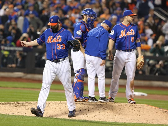 Nov. 1, 2015: With a chance to lead the Mets to Game 6 of the World Series, Matt Harvey throws eight shutout innings against the Royals, and then famously tells manager Terry Collins he is not leaving the game. But Harvey then yields two runs in the top of the ninth, and the Mets' season ends after a 7-2 loss in 12 innings. The righty went 2-0 with a 3.04 ERA in the postseason.