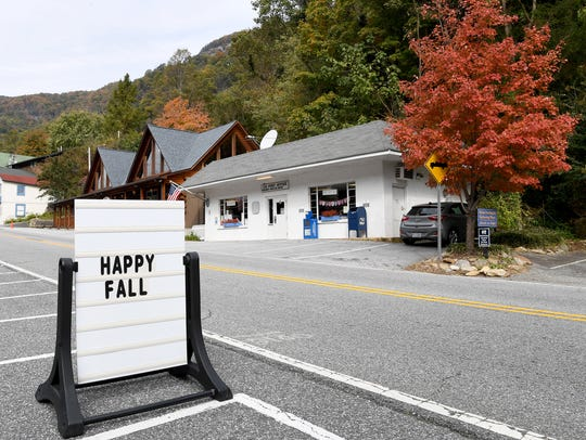 A sign welcomes visitors in Chimney Rock on Wednesday,