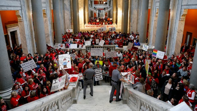 Protesters fill the Kentucky State Capitol in Frankfort, Ky., on Monday, April 2, 2018. A pension reform bill quickly passed the House and Senate last week.