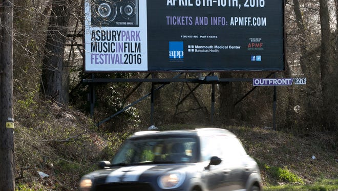A billboard on Asbury Ave. advertising the AP Music in Film Festival—April 5, 2016 -Asbury Park, NJ.-Staff photographer/Bob Bielk/Asbury Park Press