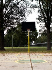Basketball courts stand outside every dormitory at