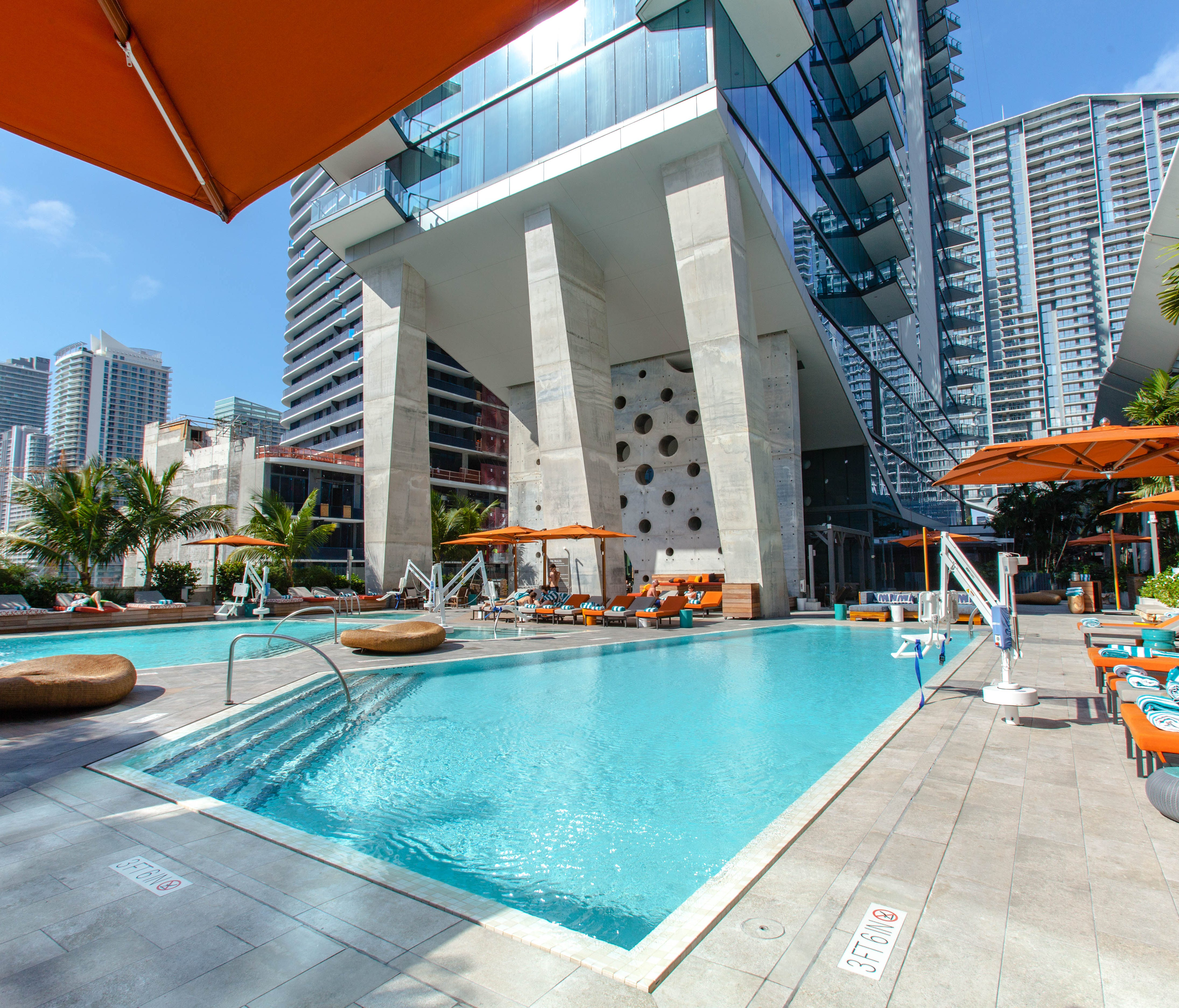 EAST, Miami: Not all of the city's trendiest hotels are on the beach. EAST, Miamisits atop the Brickell City Centre in the Financial District. As such, it often caters to business travelers, though the property is hip enough — with a trendy rooftop