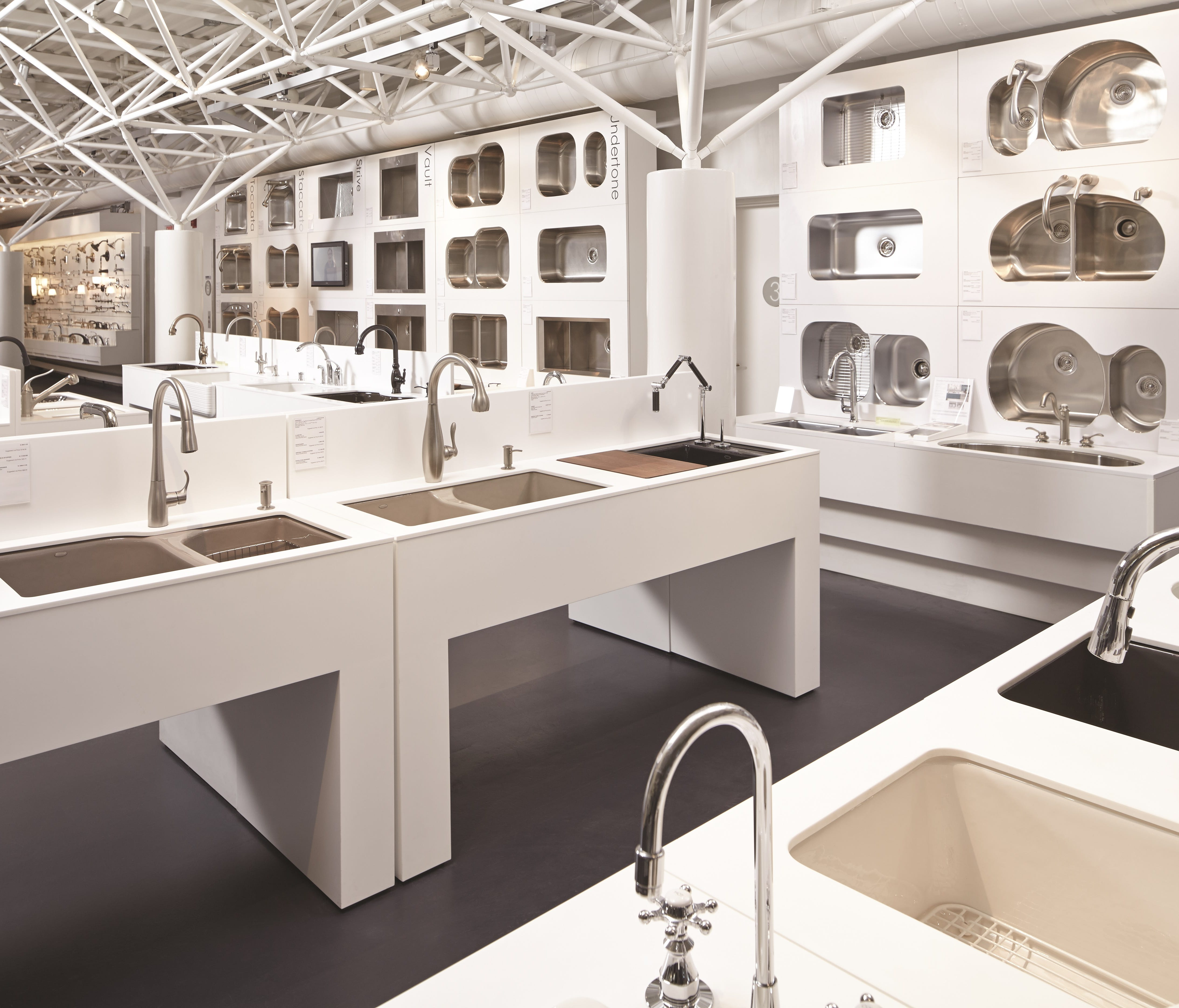 Many of the kitchen faucets Kohler makes are hooked up to water and operational so visitors can try them out for themselves at the Kohler Design Center.