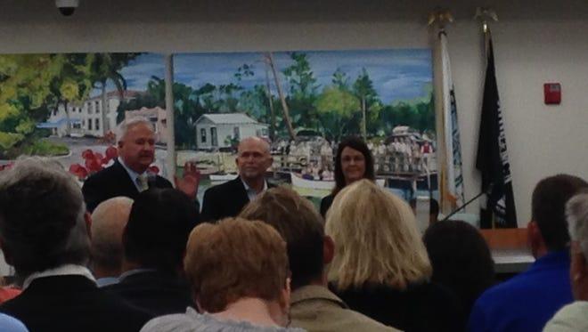 Bonita Springs Councilman Steven Slachta thanks Hodges University President Jeanette Brock for her devotion to local veterans.