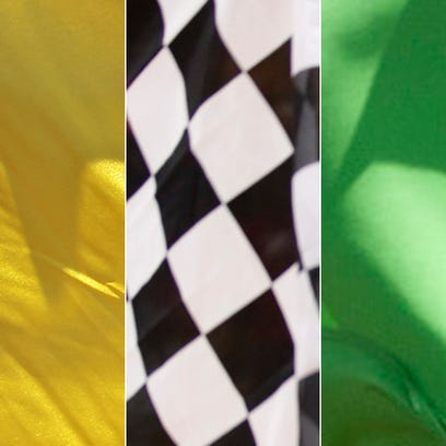 Yellow, checkered and green flags.