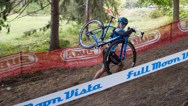 A competitor is the 2015 cyclocross event takes advantage of one of the rules; a participant can carry their bike up steep hills.
