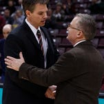 Missouri State coach Paul Lusk (left) played at Southern Illinois and was an assistant coach there; SIU coach Barry Hinson (right) was head coach at Missouri State for nine seasons.