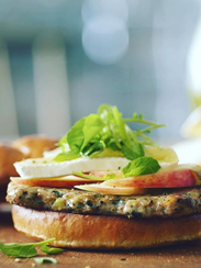 The Apple Brie Turkey Burger, one of the entrees offered