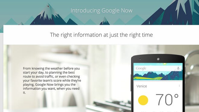 Google Now home page.