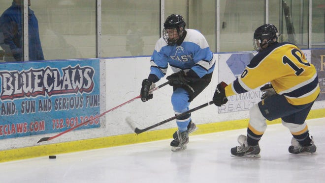 Zach Noble (left) was named an NAPHL All-Star before leading TR East past TR North on Monday.