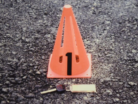 A crime scene photo of the key to Blair Adam's rented