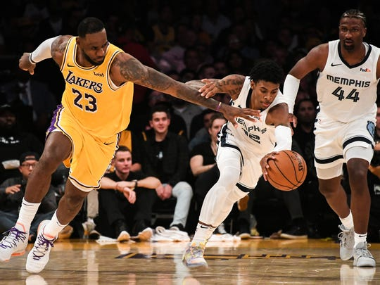 Oct 29, 2019; Los Angeles, CA, USA; Los Angeles Lakers forward LeBron James (23) defends Memphis Grizzlies guard Ja Morant (12) during the fourth quarter at Staples Center. Mandatory Credit: Richard Mackson-USA TODAY Sports